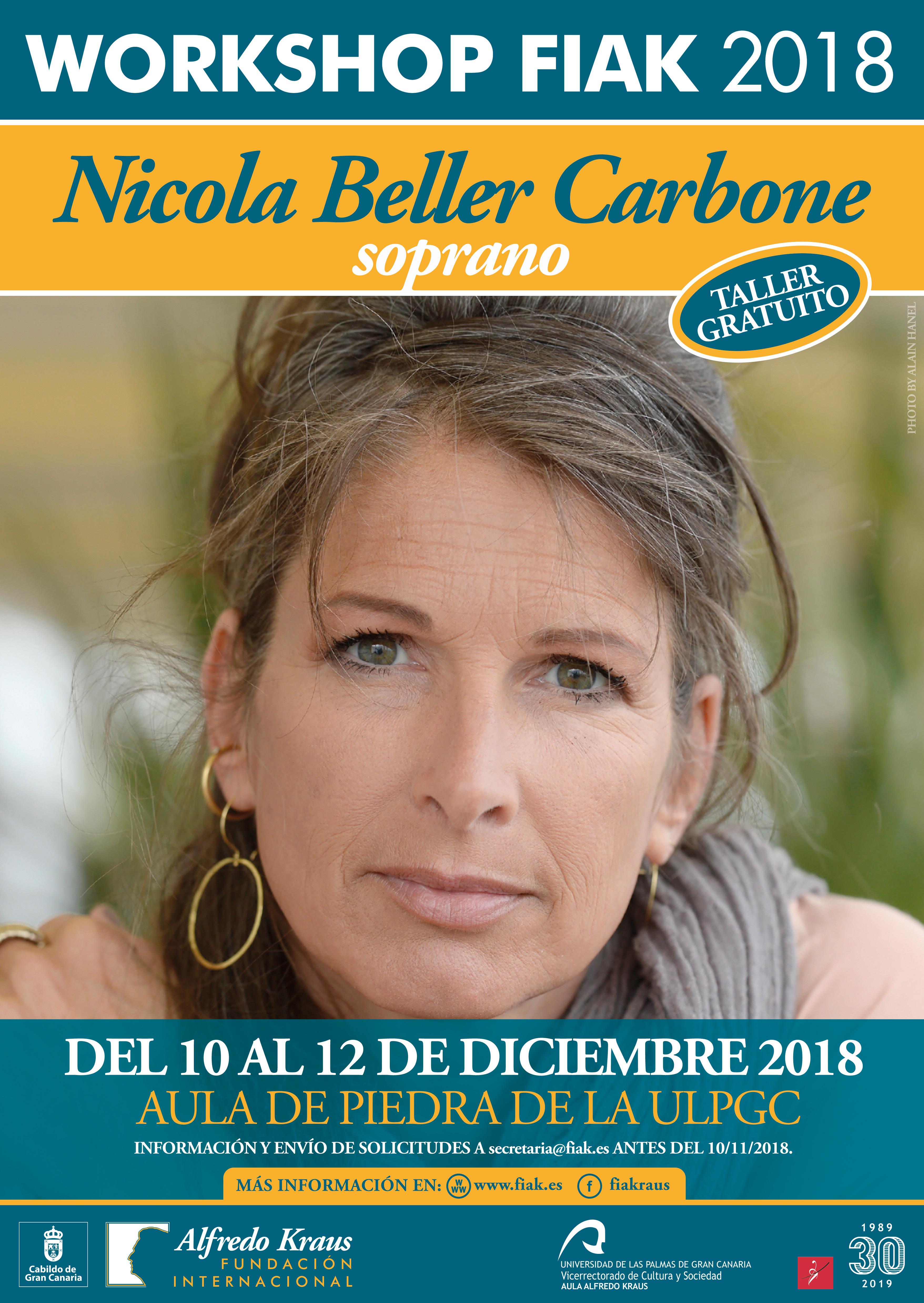 Convocatoria del Workshop FIAK'18, taller didáctico destinado a cantantes y estudiantes de ópera que dictará la soprano Nicola Beller Carbone