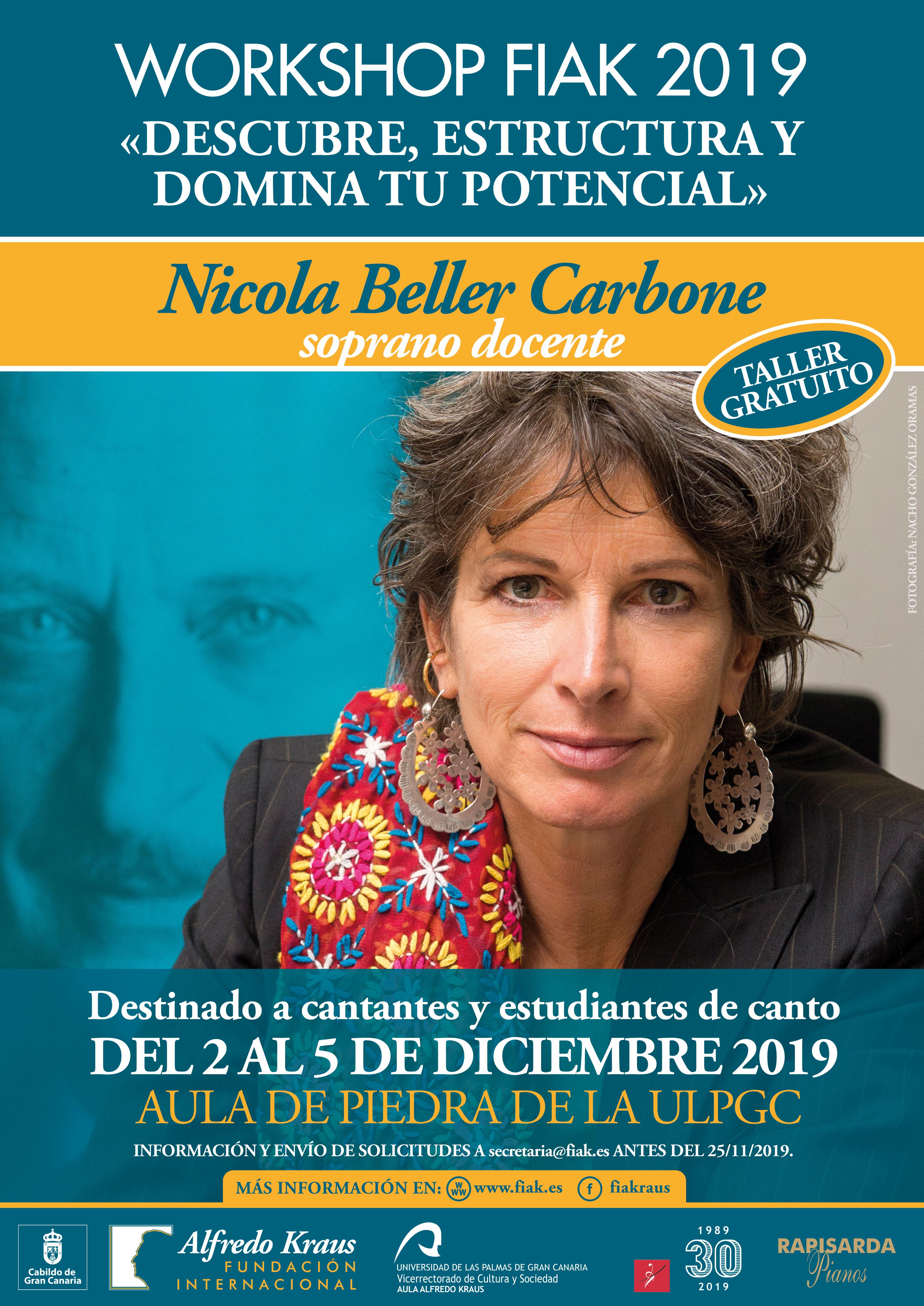 La soprano Nicola Beller Carbone impartirá el Workshop FIAK19 'Descubre, estructura  y domina tu potencial', dirigido a profesionales y estudiantes de canto