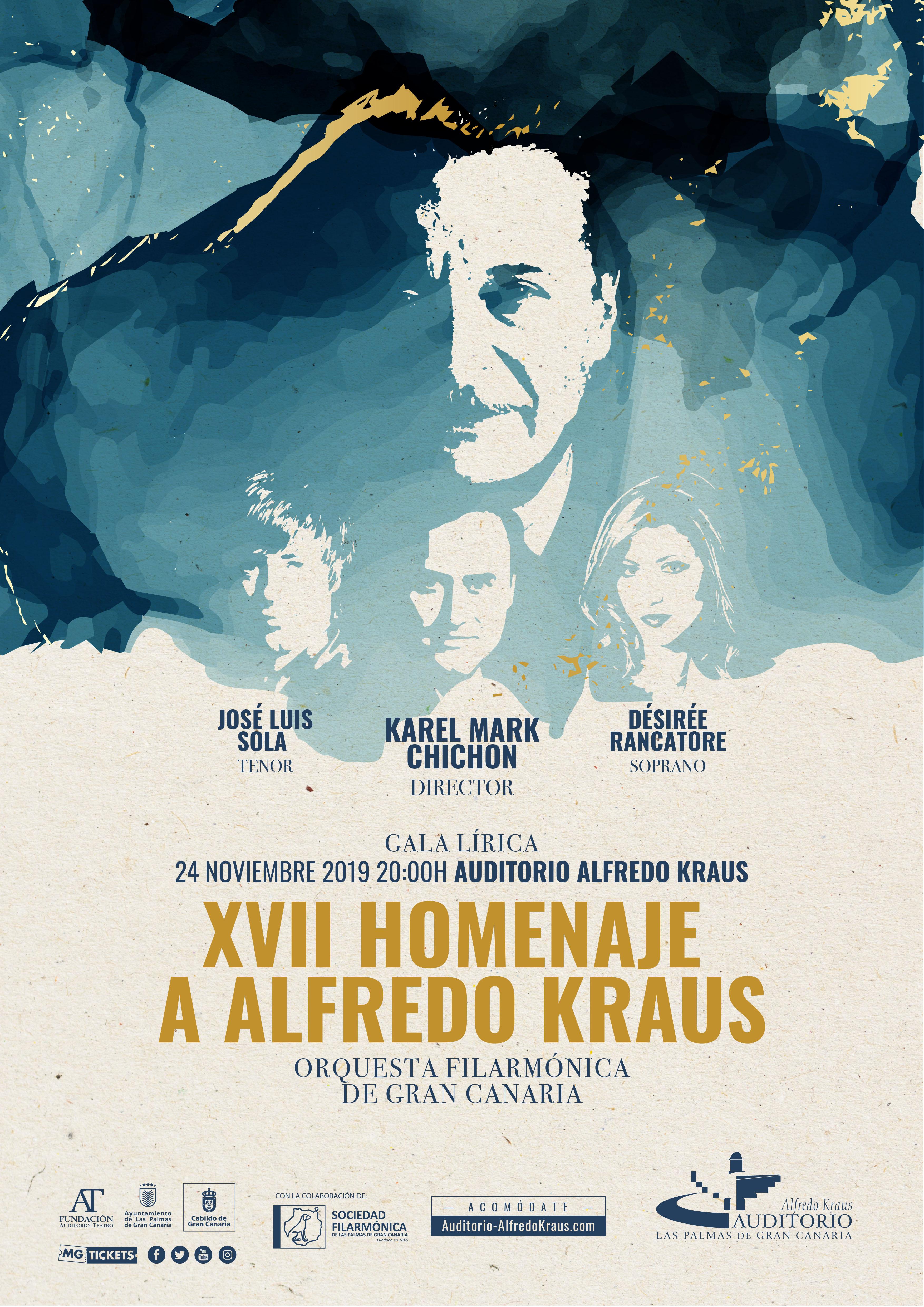 La soprano Désirée Rancatore, el tenor José Luis Sola y la Orquesta Filarmónica de Gran Canaria dirigida por  Karel Mark Chichon protagonizan la XVII edición del homenaje a Alfredo Kraus